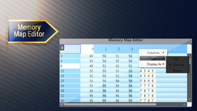 Virtuoso standard control libraries memory map editor